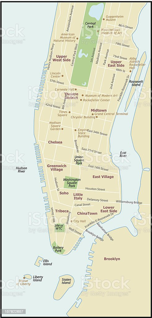 New York City Map vector art illustration