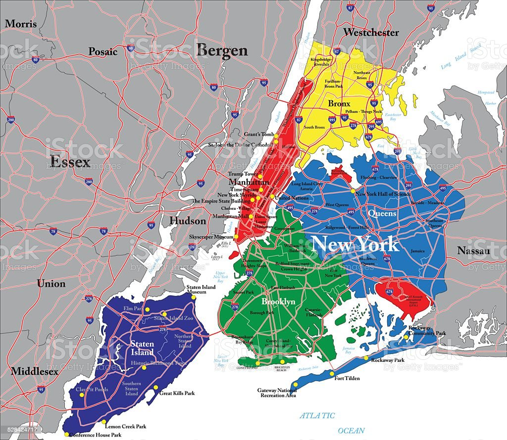 New York City Map Stock Vector Art  IStock - Map of new york ellis island
