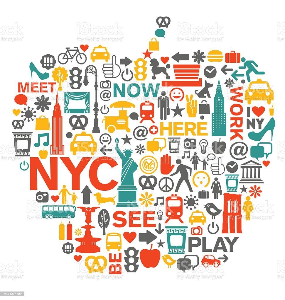 New York City NYC icons in big apple shape vector art illustration