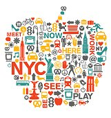 New York City NYC icons in big apple shape