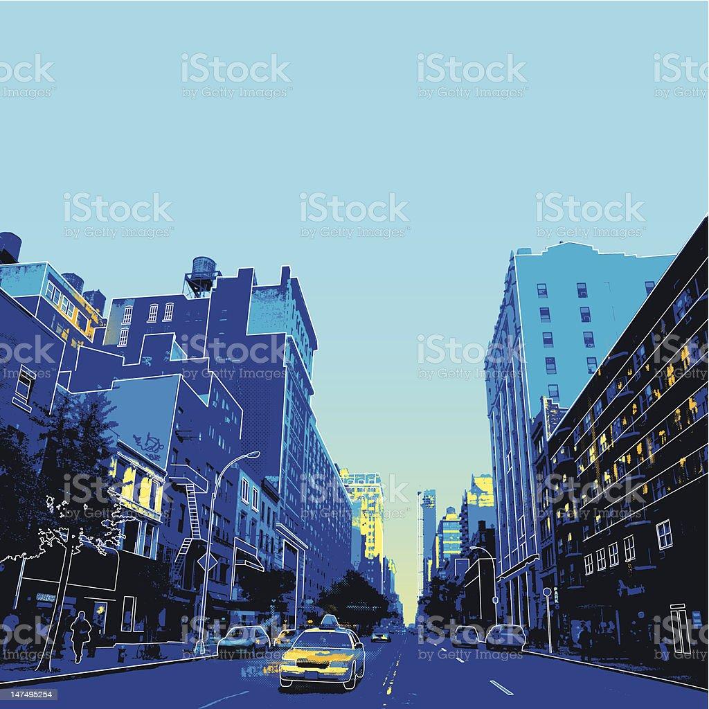 New York city scene vector art illustration