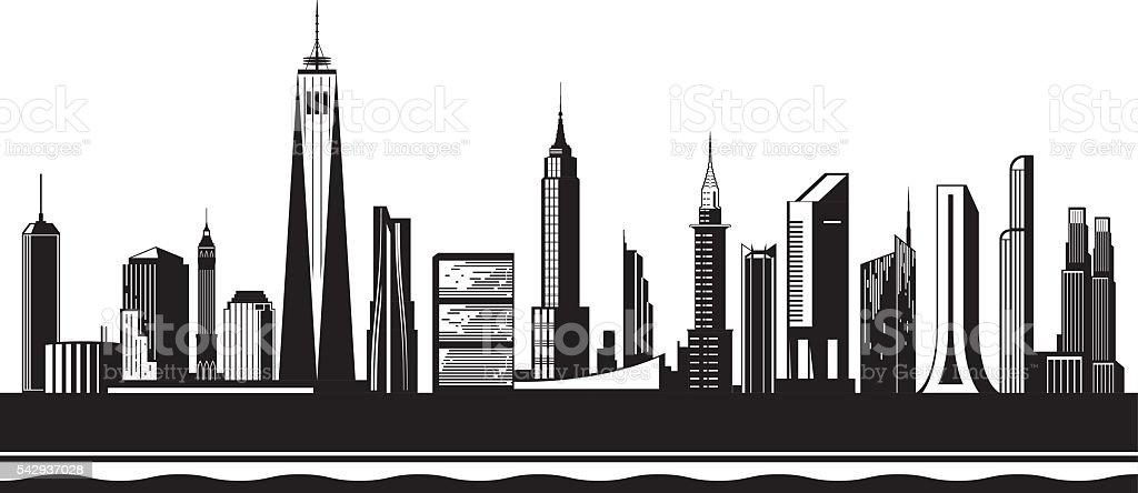 New York City silhouette by day vector art illustration