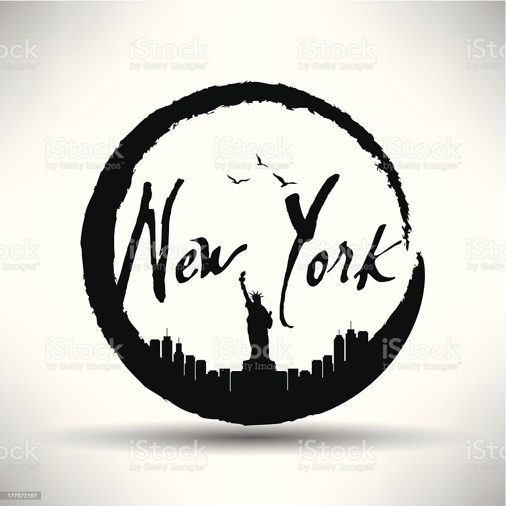 New York City Silhouette with Circle Brush Stain royalty-free stock vector art