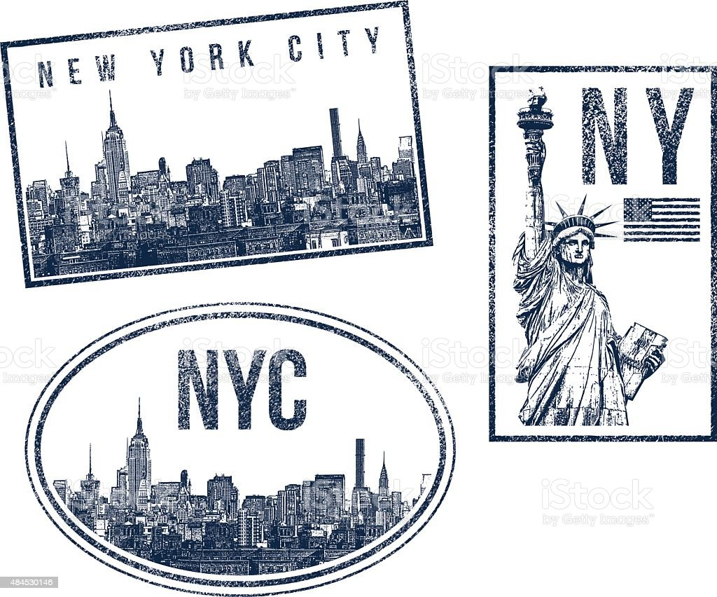 New York City skyline and Statue of Liberty rubber stamps vector art illustration
