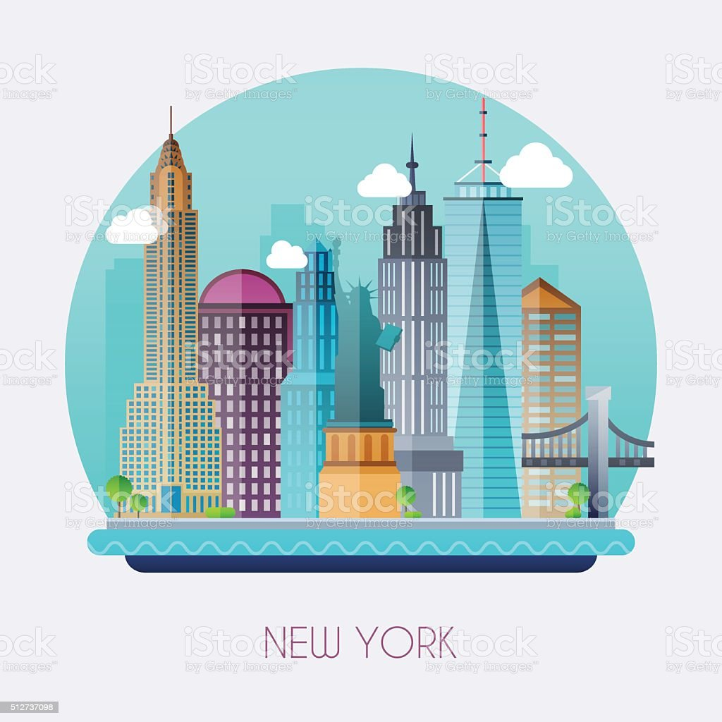 New York City. Skyline and vector landscape of buildings vector art illustration