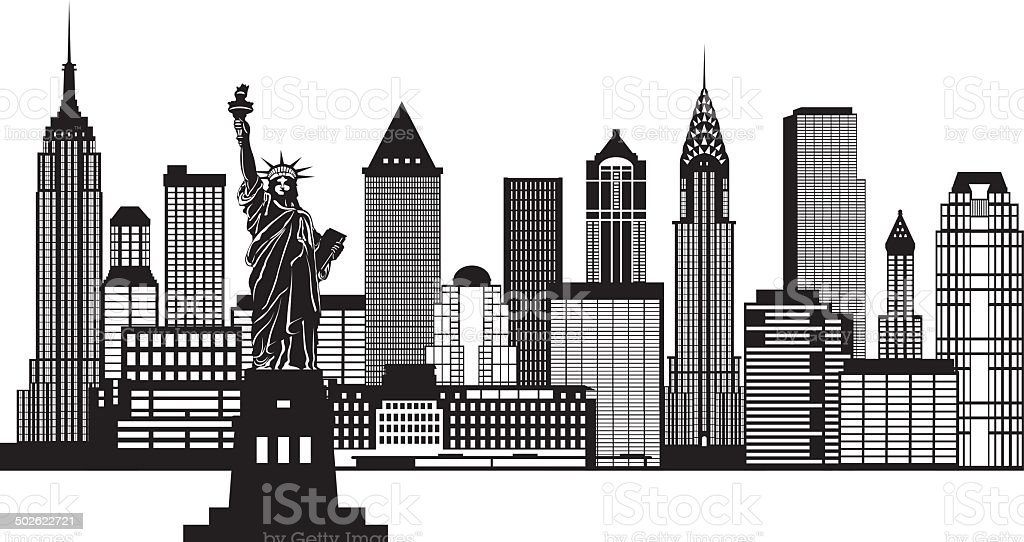New York City Skyline Black and White Vector Illustration vector art illustration