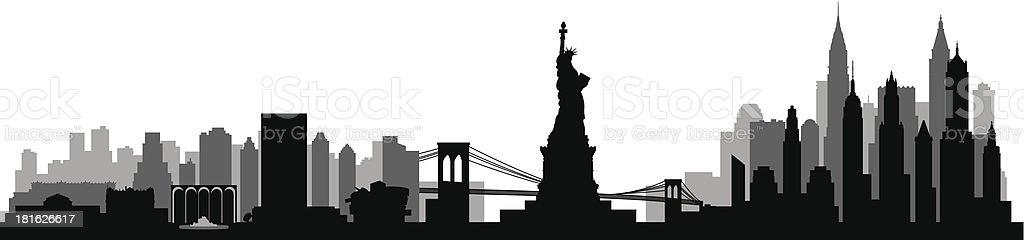 New York City skyline detailed silhouette vector art illustration