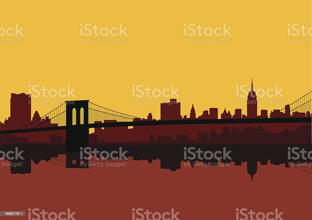 New York city skyline in shades of red against a yellow sky vector art illustration
