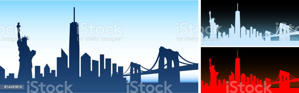New York City skyline panoramic Horizontal Background vector art illustration