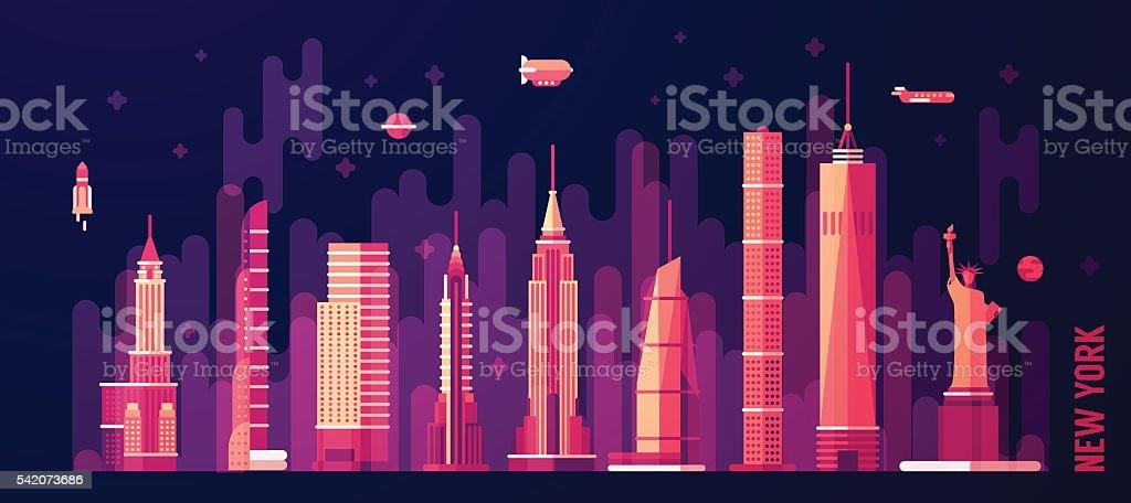 New York city skyline vector flat style vector art illustration