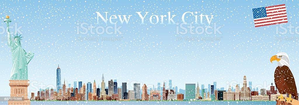 New York City Skyline vector art illustration