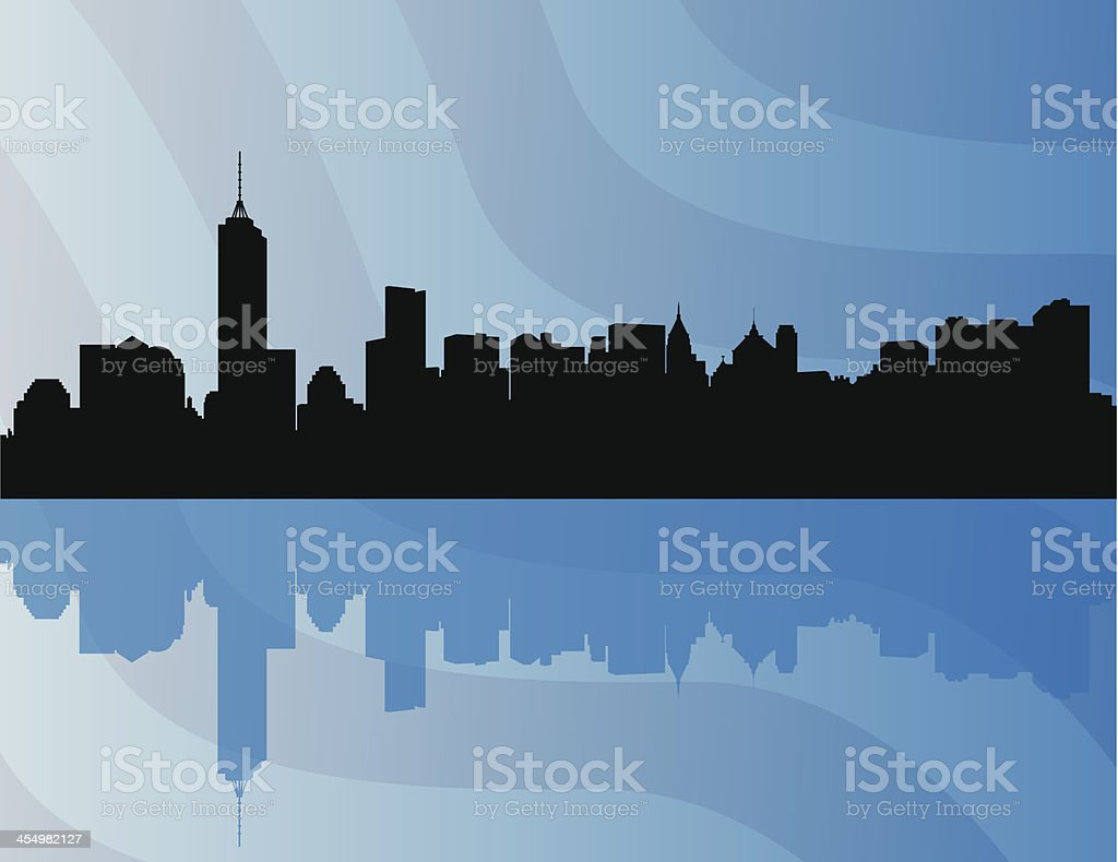 New York City Skyline with Flag Background royalty-free stock vector art