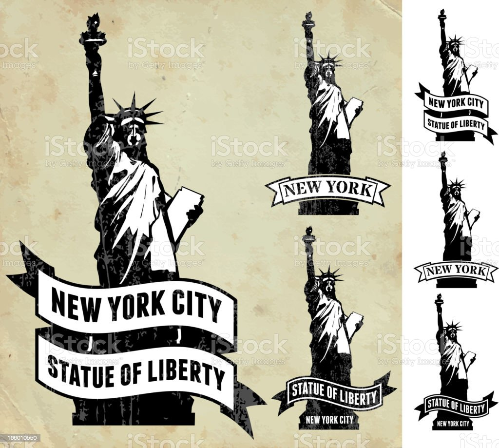 New York City Statue of Liberty grunge paper icon set royalty-free stock vector art