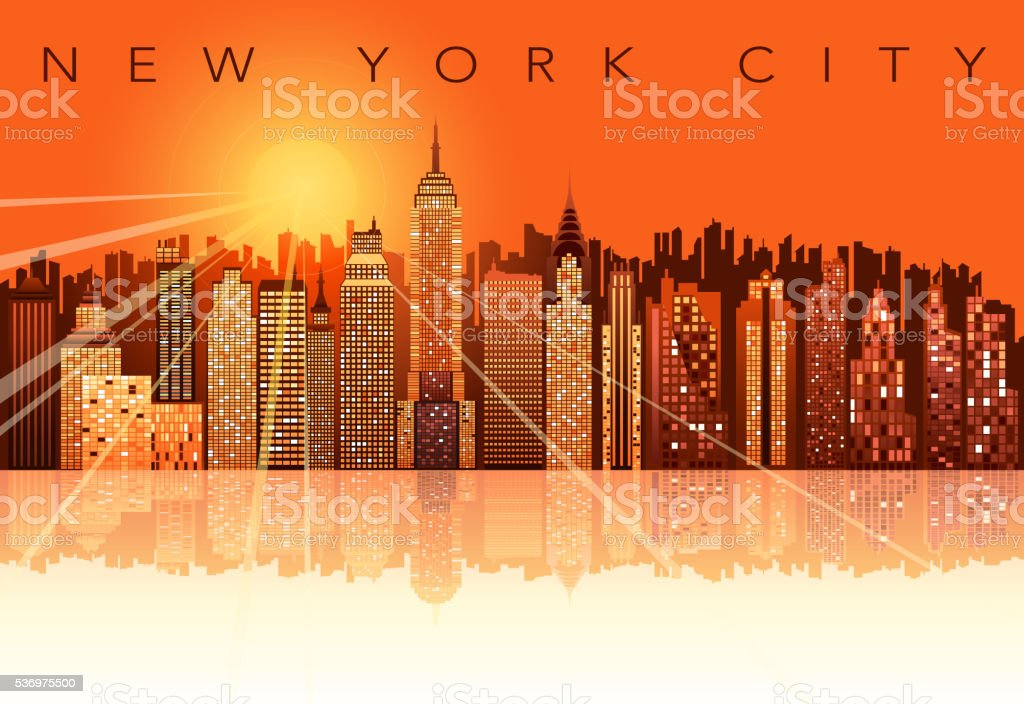 new york city sunset vector art illustration