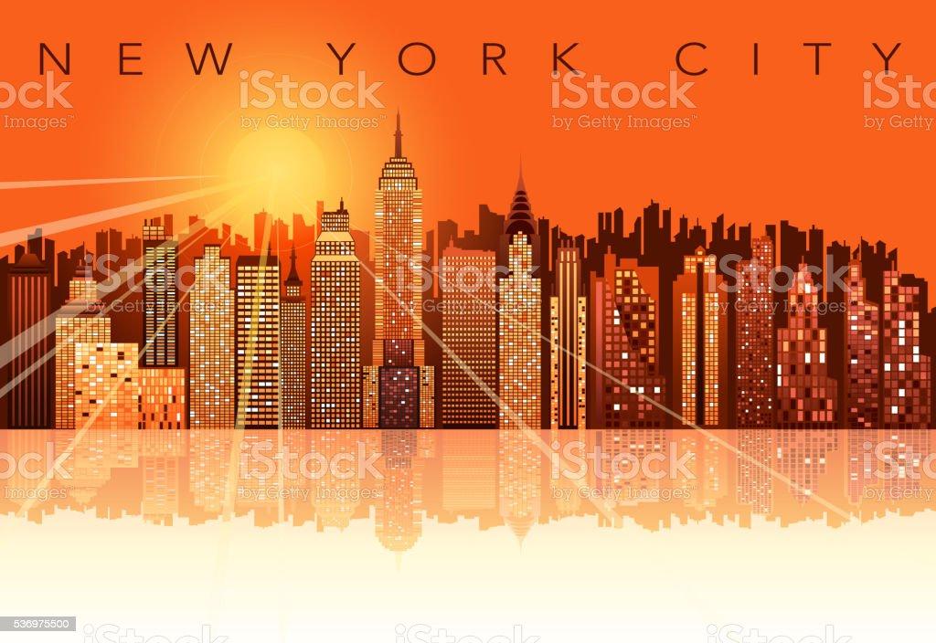 new york city sunset vector art illustration