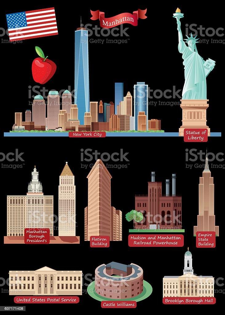New York City Symbols vector art illustration