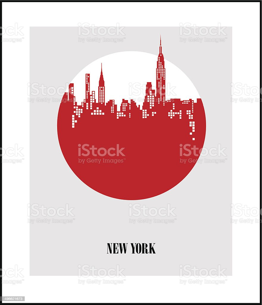 New York City - The Big Apple. Poster vector art illustration