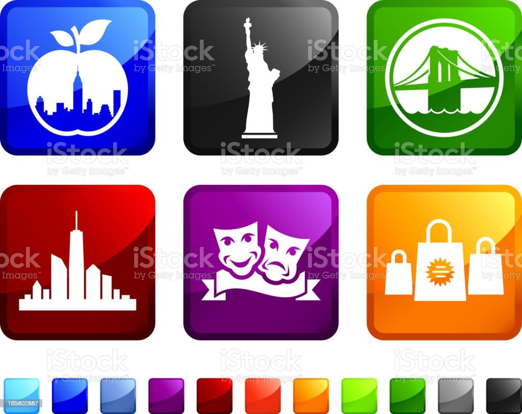New York City Tourism Sightseeing vector icon set stickers royalty-free stock vector art