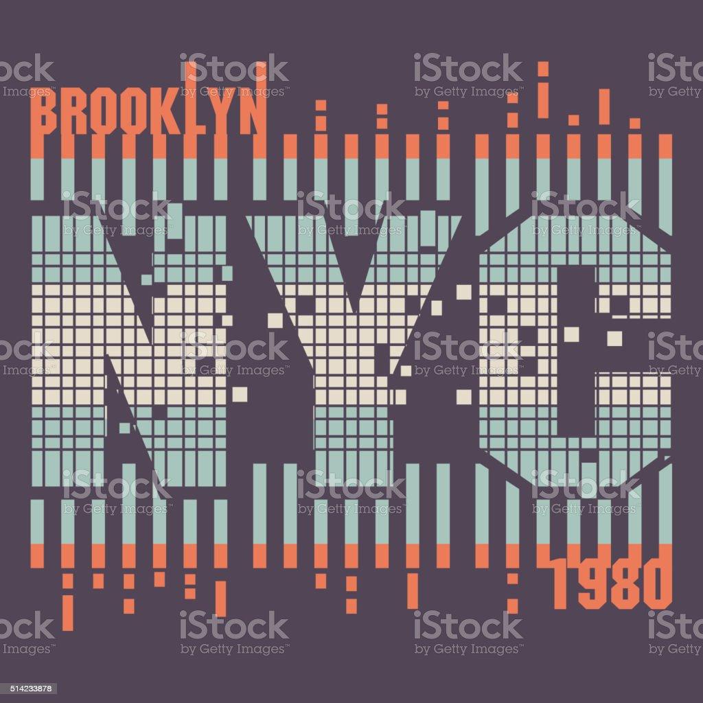 New York City Typography design vector art illustration