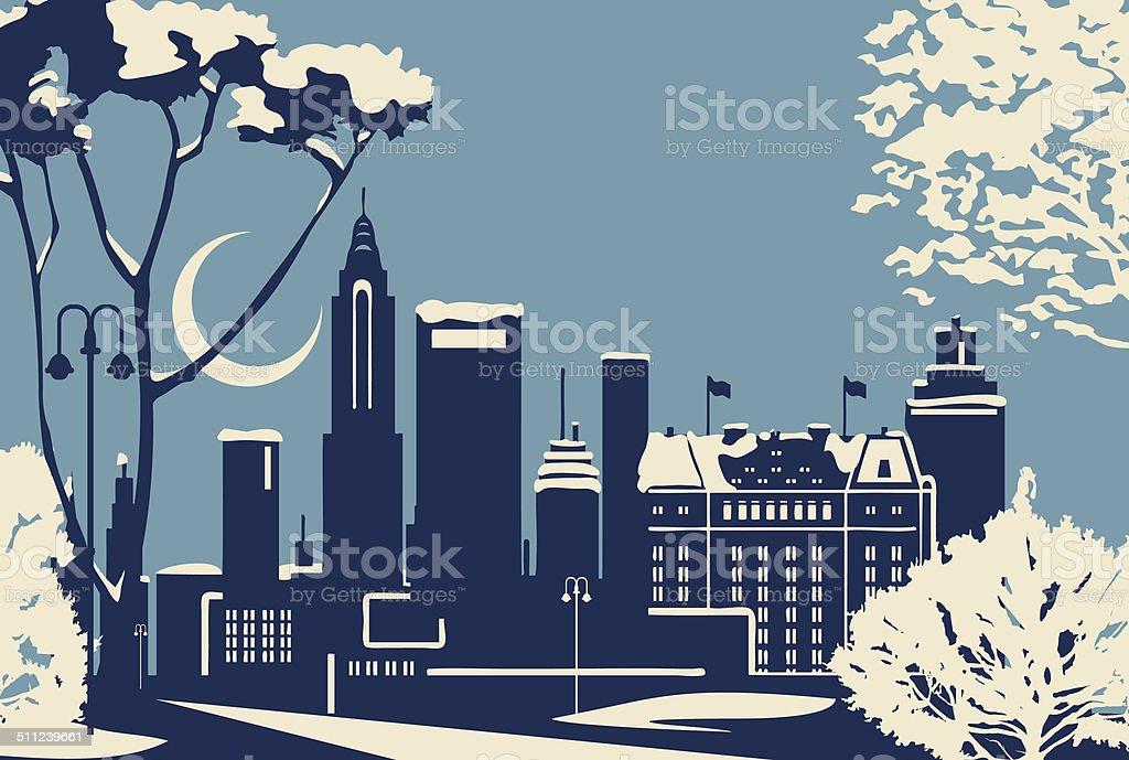 New York City winter skyline vector art illustration
