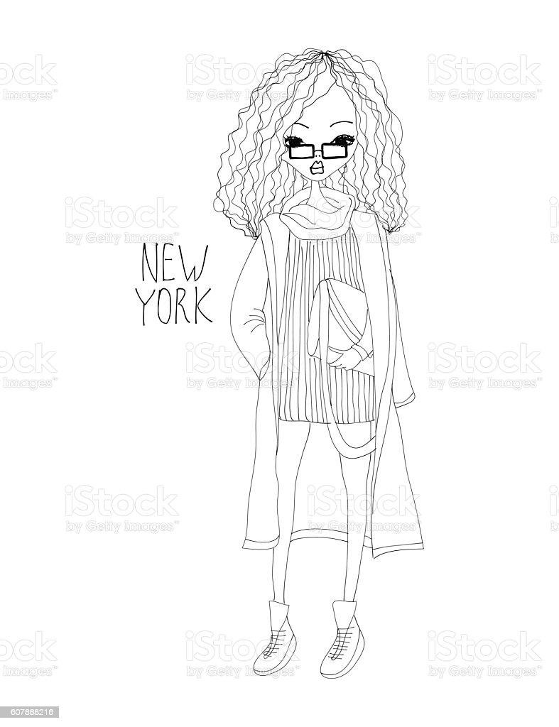 Art Bag Nyc New York Fashion Illustration With A Fashion Girl Stock Vector Art
