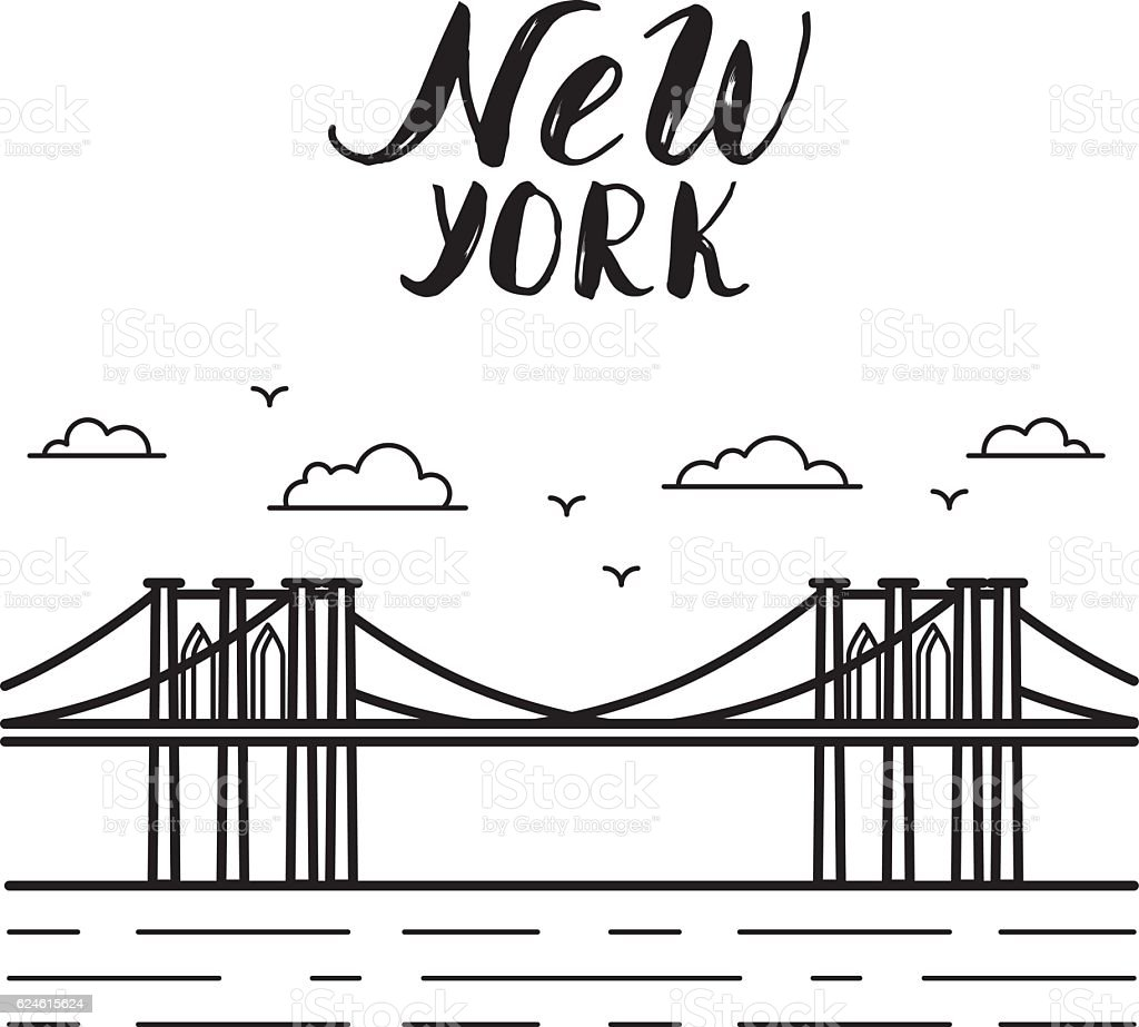 New York illustration with Brooklyn bridge modern calligraphy. vector art illustration
