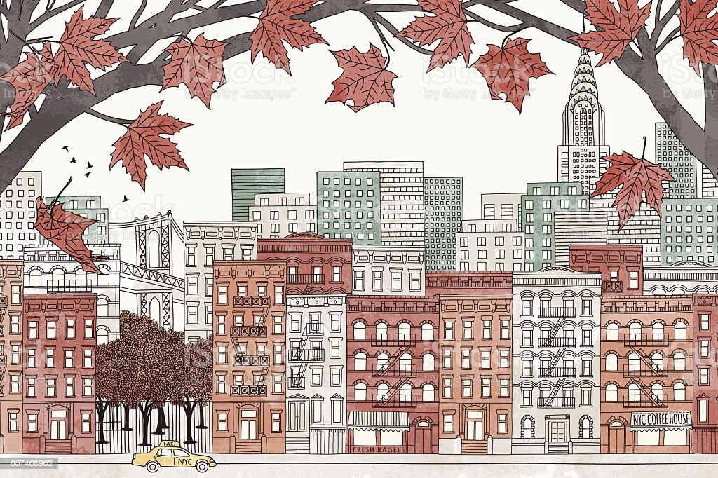 New York in autumn vector art illustration