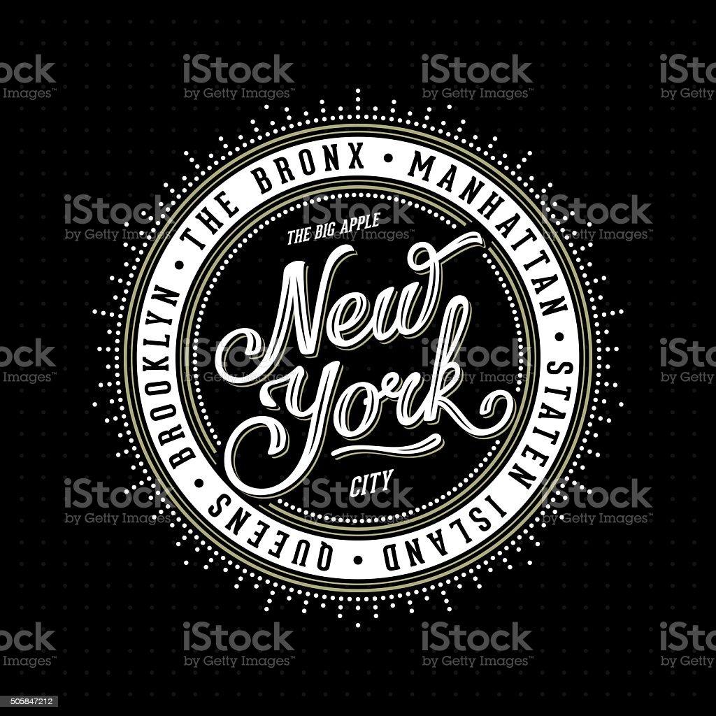 New York Lettering Stamp vector art illustration