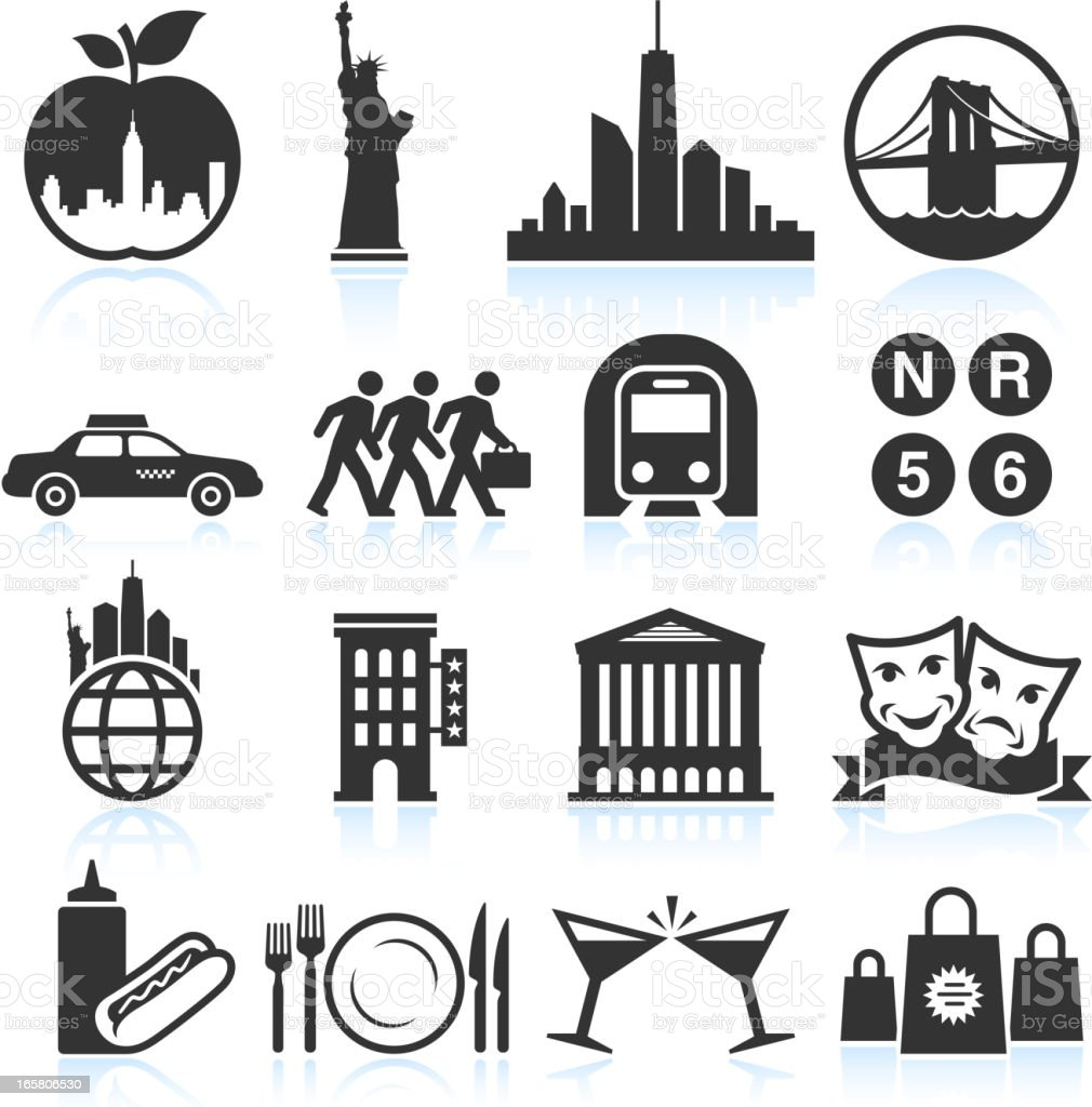 New York Life black & white vector icon set royalty-free stock vector art