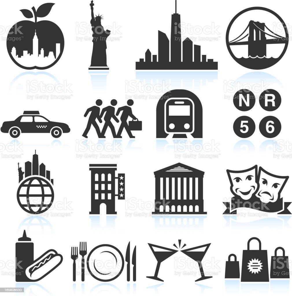 New York Life black & white vector icon set vector art illustration