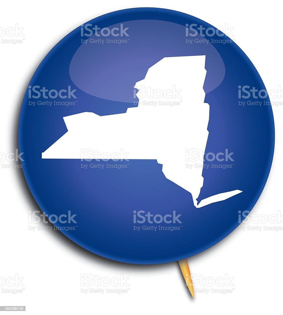 New York Map Button vector art illustration