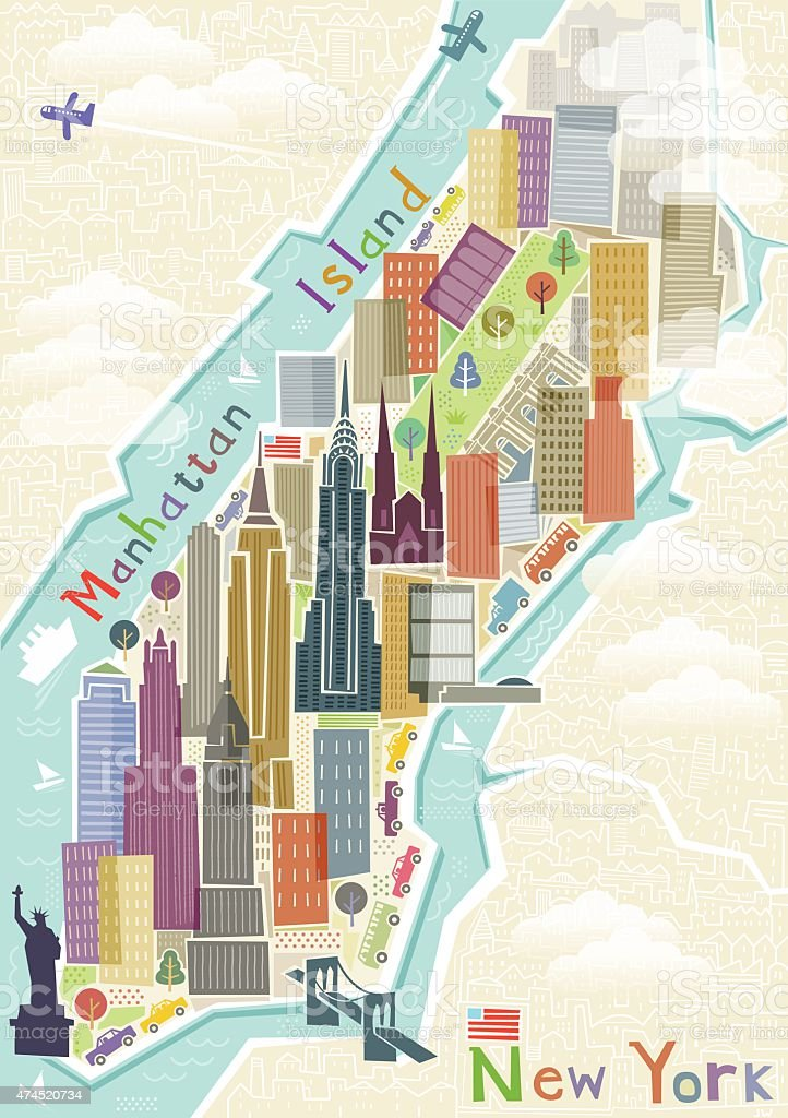 New York map illustration vector art illustration