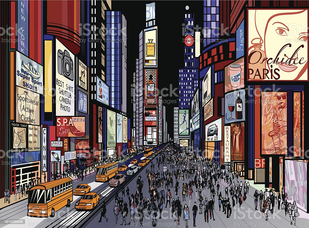 New York - night view of times square vector art illustration