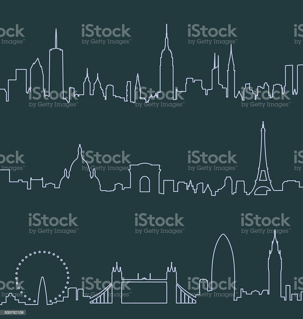 New York, Paris and London Profile Lines vector art illustration