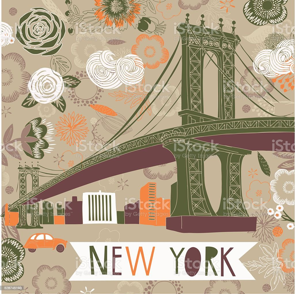 New York Print Design vector art illustration