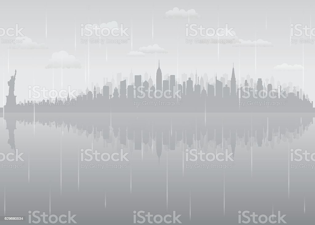 New York Rain (All Buildings are Complete and Moveable) vector art illustration