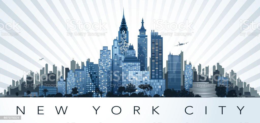new york scenic vector art illustration