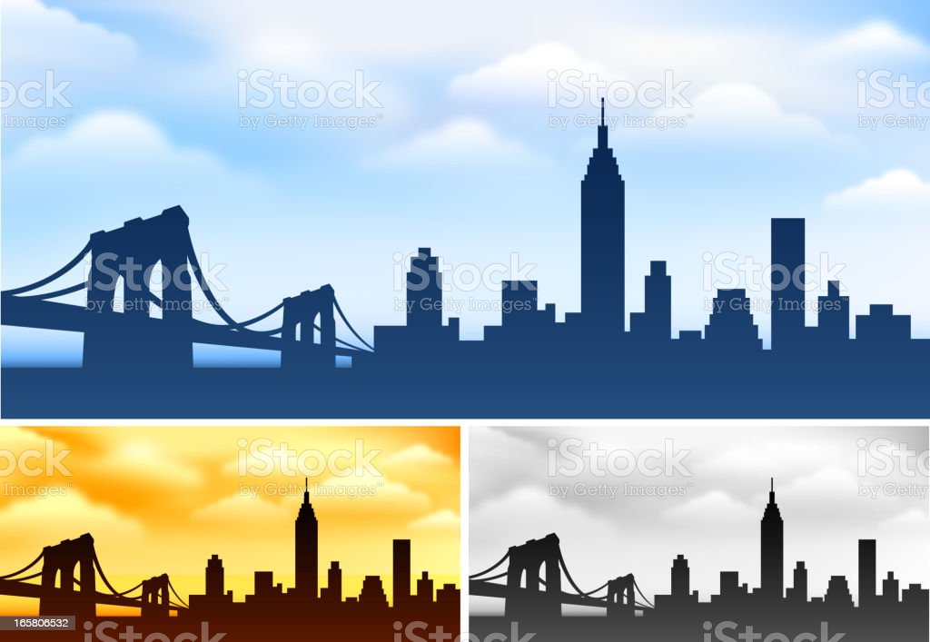 New York skyline panoramic Collection vector art illustration
