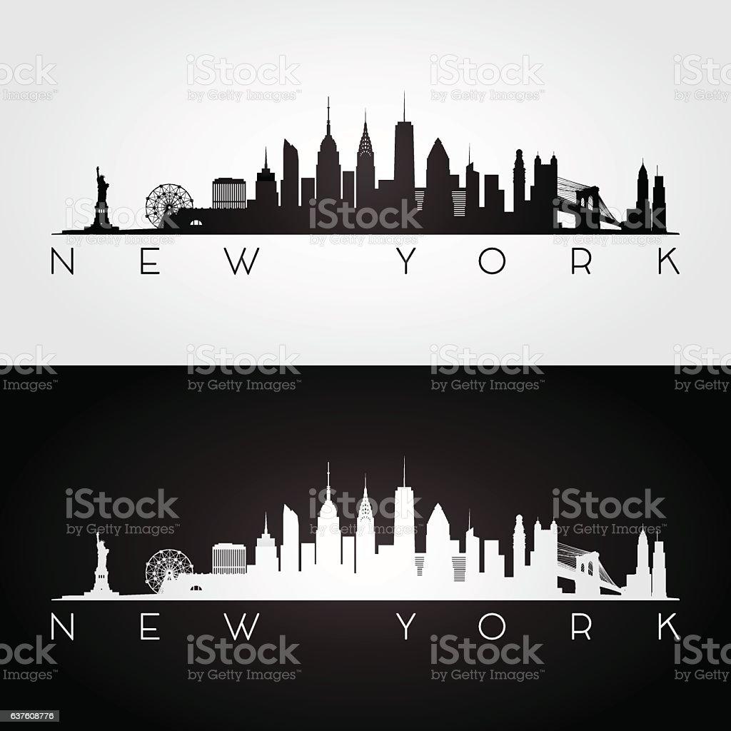 New York skyline silhouette. vector art illustration