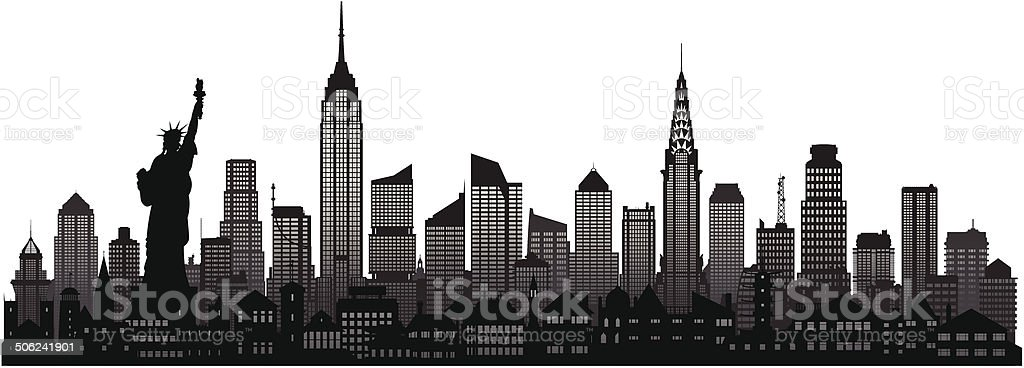 New York Skyline (Complete, Moveable Buildings) vector art illustration