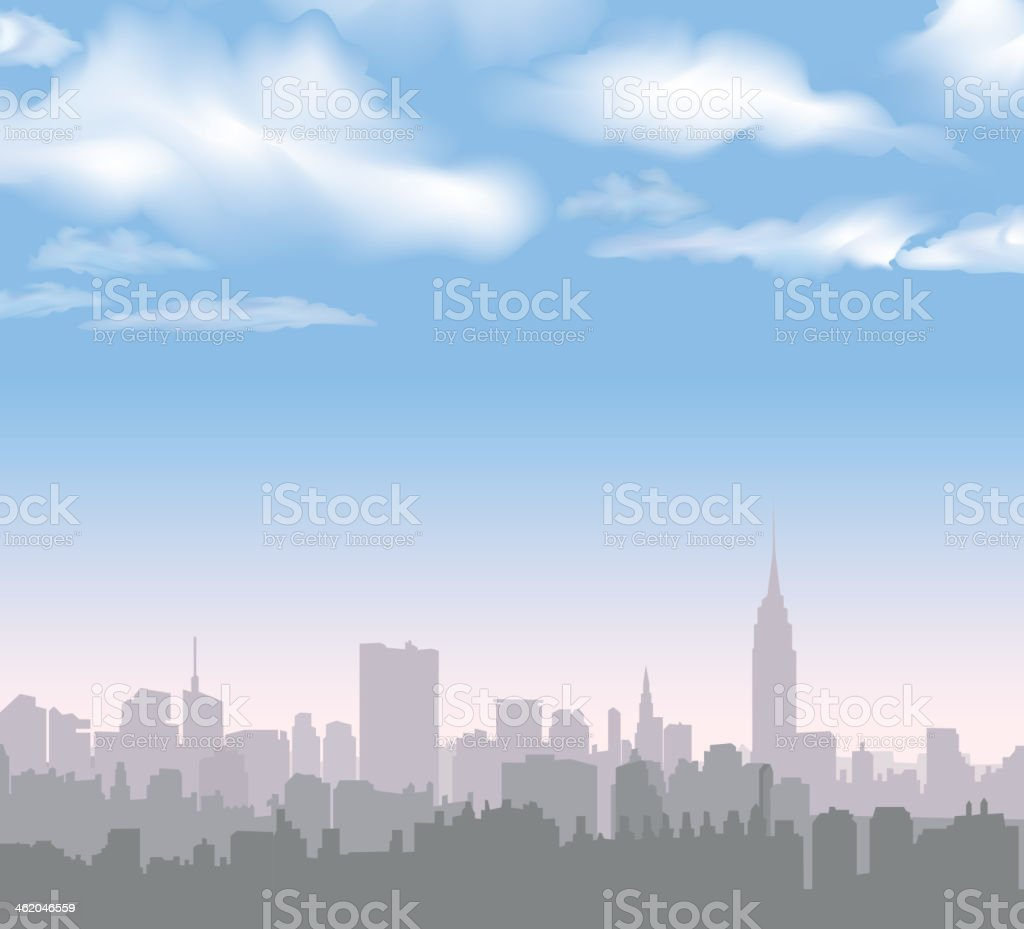 New York skyline with building illustrations vector art illustration