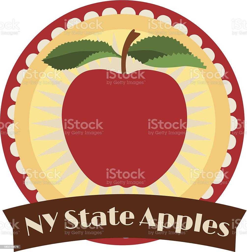 New York State apples travel sticker vector art illustration