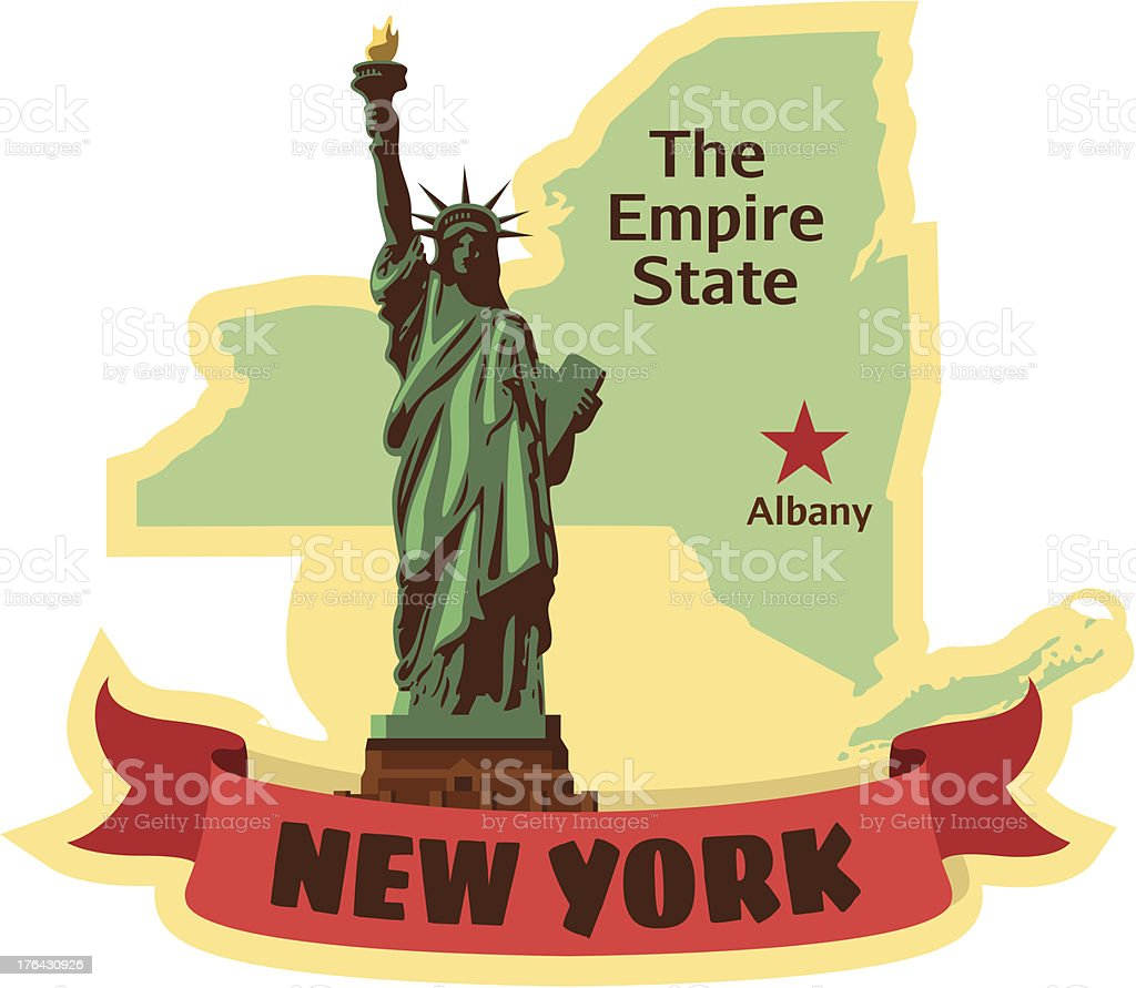 New York State luggage label or travel sticker vector art illustration