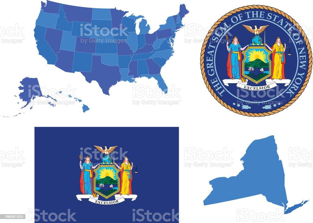 New York state set vector art illustration