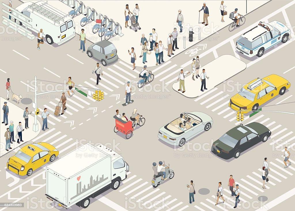 New York Street Illustration vector art illustration