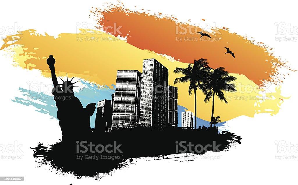 New York Summer vector art illustration