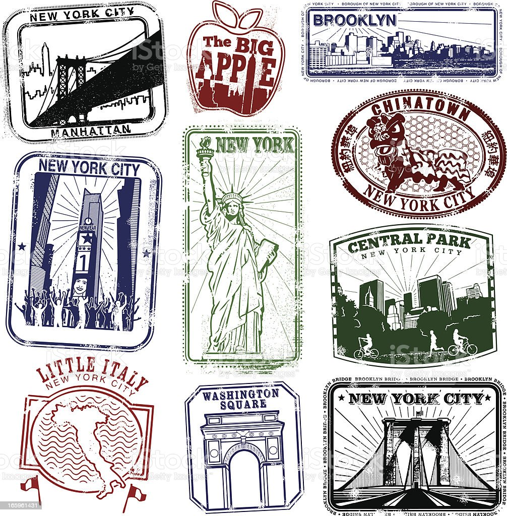 New York Super Retro Stamps royalty-free stock vector art