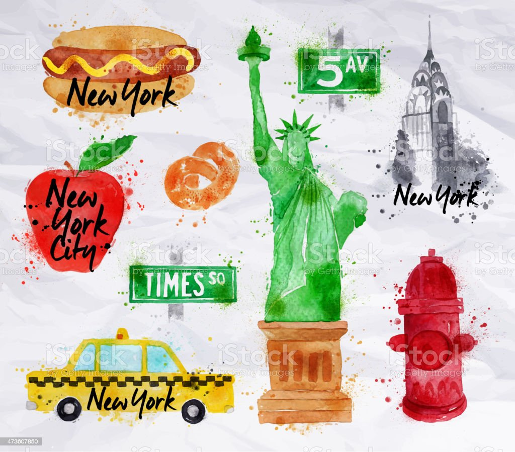 New york symbols crumled paper stock vector art 473607850 istock new york symbols crumled paper royalty free stock vector art buycottarizona Image collections