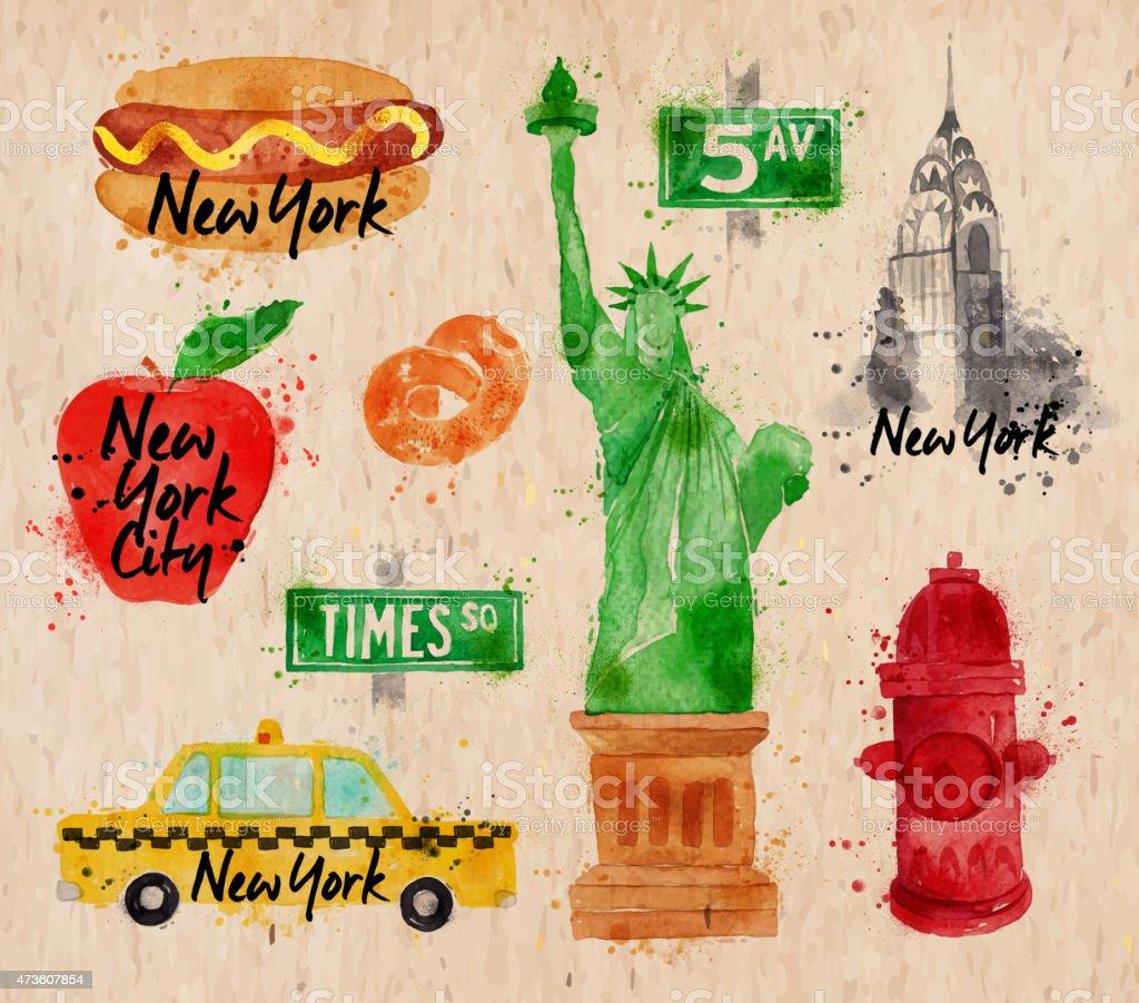 New York symbols kraft vector art illustration