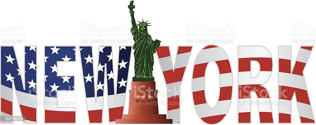 New York Text Outline US Flag in Color Vector Illustration royalty-free stock vector art